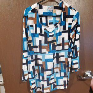 Patterned 3/4 Length Sleeve Blouse - Blue